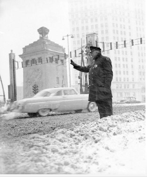 Directing traffic at the Michigan Ave Bridge, 1955, Chicago