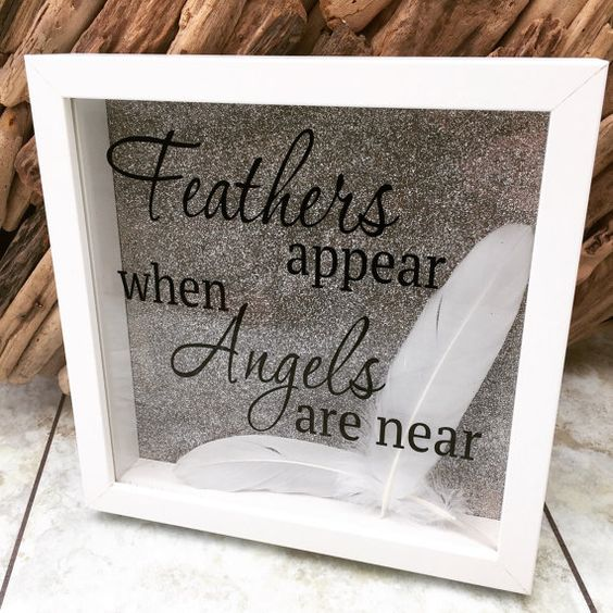Picture Box Frame Handmade Feathers Appear When Angels Are Near Sparkle
