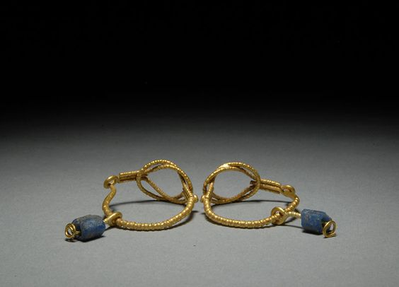 Ancient Roman Gold & Glass Bead Earrings Jewelry: