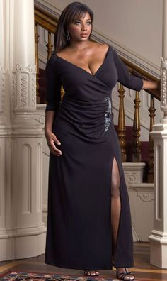 Formal Plus Size Evening Gown - Black Long Sleeve Evening Dress ...