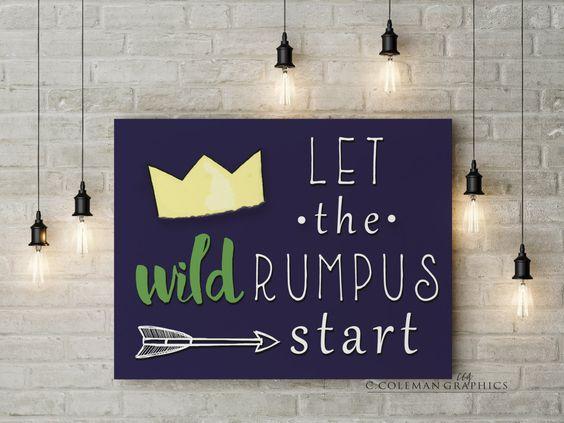Let the Wild Rumpus Start #3 -- Custom Wall Art Room Decor -- Digital File OR…
