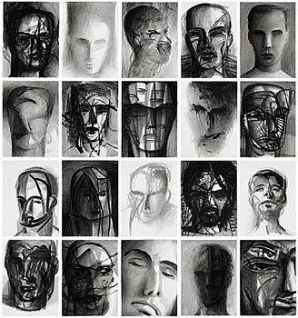 Sessenta cabeças 1997 nanquim sobre papel 76 x 56 cm cada coleção Museu de Arte Moderna Aloísio Magalhães  doação IBM e Prefeitura da Cidade do Recife (SIC)