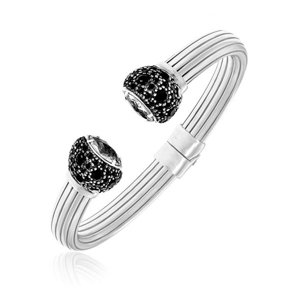 Sterling Silver Open Bangle with Black Spinel & Rock Crystals