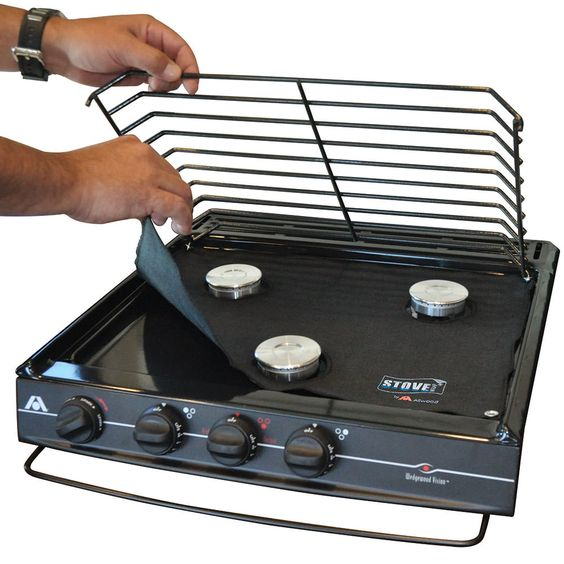 Uniquely designed to keep your 3-burner gas range or slide-in cooktop looking like new by catching drips, spills and splatters.