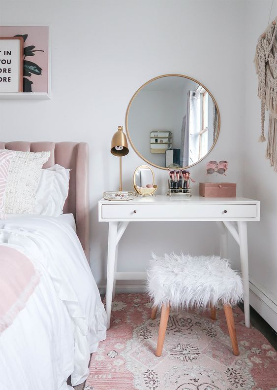 Styling A Vanity In A Small Space | Small Space | Vanity As a Nightstand | Blush and White Vanity | Blush and White Bedroom | Makeup Organization | Vanity Organization| Money Can Buy Lipstick