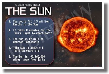 sun solar flares star gas telescope facts physicist stars astronomy space nasa cosmos incredible knowledge school poster classroom scientist science solar system wall art poster gift teachers