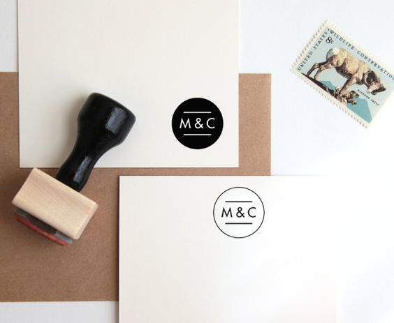 Custom Wedding Rubber Stamp, Initials or Monogram (Wood Mounted) Personalized Minimalist Modern Design for Favors, Save the Date (C254)