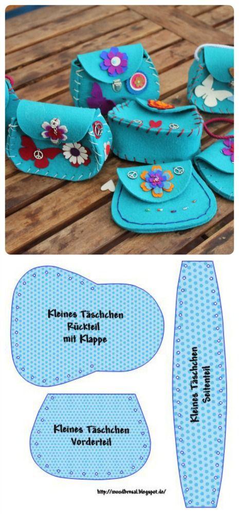 DIY для детей;  Шить Маленький Войлок Сумки, DIY для детей;  Маленькие сумки из войлока шитья.  DIY Kindern;  Täschchennähen AUS Filz.  :-D: