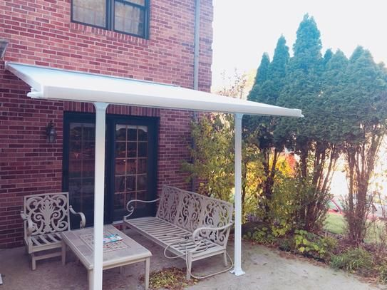 Palram Feria 10 Ft X 10 Ft White Patio Cover Awning 702720 The Home Depot Covered Patio Patio Backyard Shade