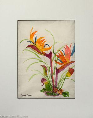 Original Watercolor by Susan Marie Fairclough, Paradise Bouquet, Matted 18X14