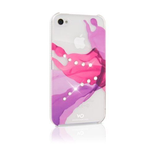 White Diamonds 1110LIQ41 Design Protective Case made with Real SWAROVSKI Crystals for iPhone 4/4S - 1 Pack - Retail Packaging - Pink