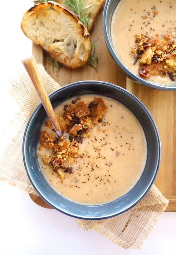 chipotle bacon white bean soup with jalapeño cheddar crumble | White ...