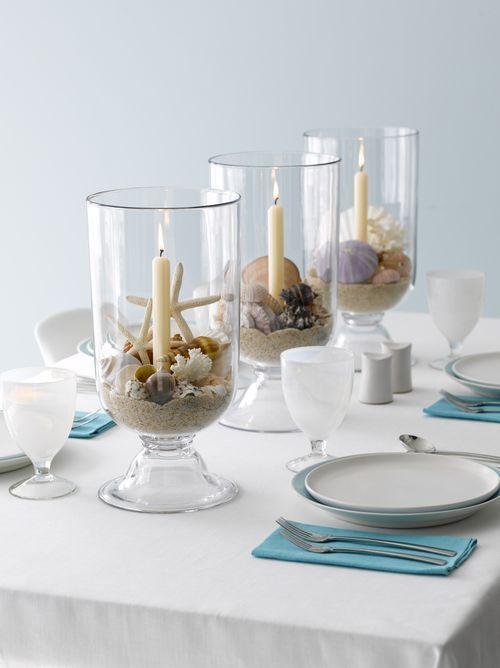 20 Festive Coastal Table Top Centerpiece Ideas With Candles Dining Table Decor Centerpiece Coastal Candle Candle Table Centerpieces