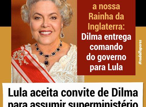 Dilma nomeia Lula como Ministro. Nomeação é o mesmo que assumir os crimes contra o Brasil -