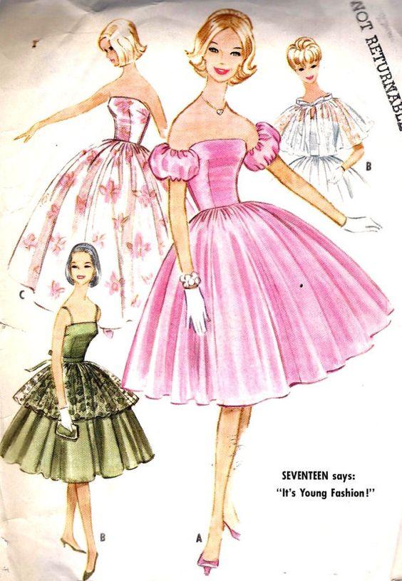 1960s Junior Party Dress Vintage Sewing Pattern | Leah | Pinterest ...
