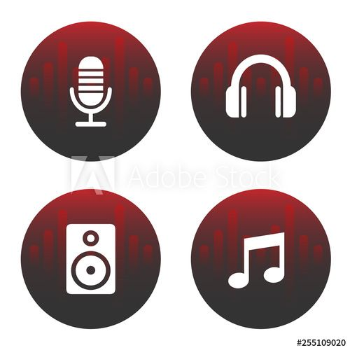 Red And Black Music Icons For Web Vector Music Note Logo Music Notes Red And Black Wallpaper