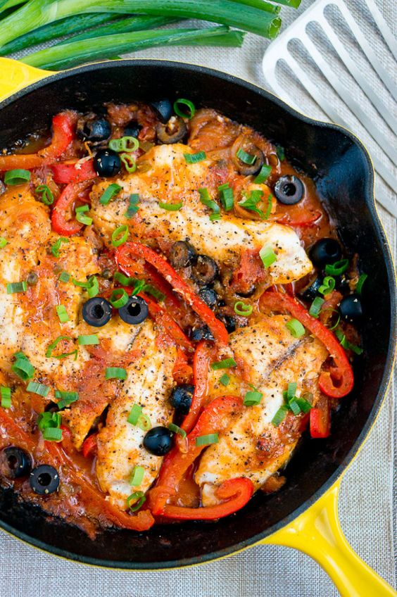 Baked tilapia veracruz recipe skillets mexican dishes for Fish dishes for dinner