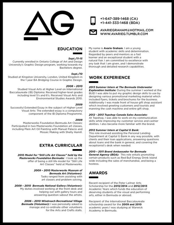 great monotone resume design with a centre pulling two