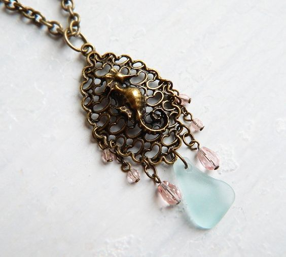 Seafoam Green Sea Glass & Peach Crystal Seahorse Necklace - Vintage Style - Genuine Chesapeake Bay Sea Glass Jewelry. $27.00, via Etsy.