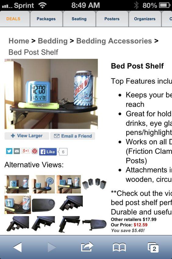 Bed post shelf from Dormco.com