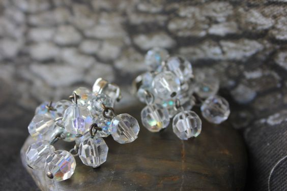 AB CRYSTAL SET,Gorgeous 1950s, Wire Wrap Bracelet and Cluster Earrings by FrancieLouiseJelly on Etsy