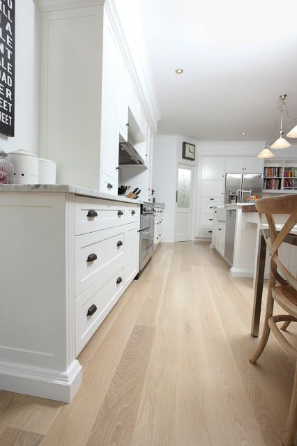 White Kitchen Oak Floor shaker kitchen; lime wash oak floor, marble benchtop | house