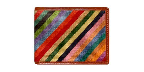 Smathers & Branson Men's Parsons Stripe Needlepoint Wallet Colorful Parsons stripe hand-stitched needlepoint design. English bull hide full grain leather finish. 6 Slots for credit card, includes gift box. Bi-fold design with slot for currency. Incredible details and vivid colors.  #Smathers_&_Branson #Apparel