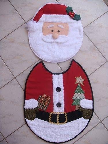 Baño Navideno Navidad:Jogo De Banheiro Molde Papai Noel