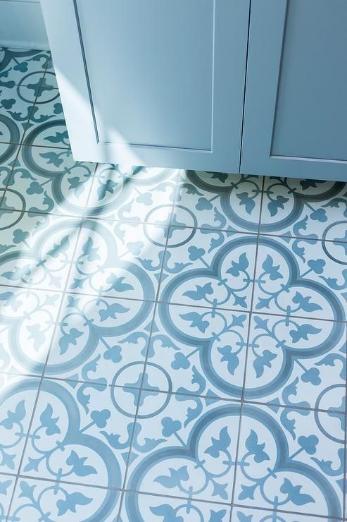 The Blue And White Club Meeting Is On The Enchanted Home Blue Tile Floor Painting Tile Floors White Tile Floor