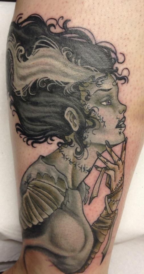 Franken bride tattoo. Not my favorite subject, but this tattoo is really well done !!!