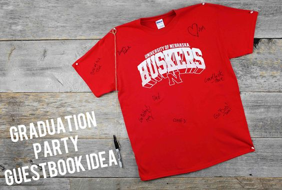 All Star Graduation Party Ideas - using your college t-shirt as a guestbook