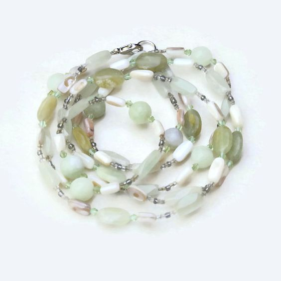Pale Green Double Strand Bohemian Necklace New Jade by ALFAdesigns