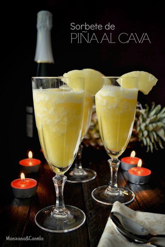 Sorbete de pi a al cava y feliz a o nuevo manzana - Sorbete limon al cava ...