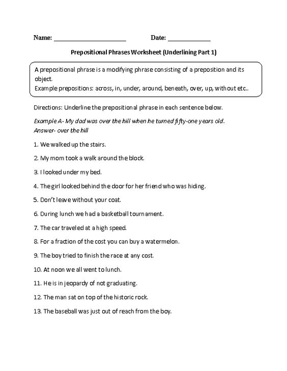 Printables Prepositional Phrase Worksheet other worksheets and grammar on pinterest underlining prepositional phrase worksheet also many for all ages