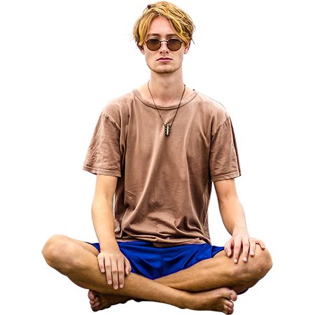 Photo of a man sitting and meditating. Background has been removed for Photoshop projects.