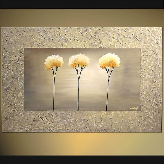 Original Abstract Contemporary Blooming Tree by OsnatFineArt