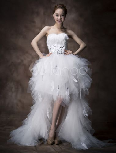 White a line sweetheart feather asymmetrical tulle bridal for Feather wedding dress davids bridal