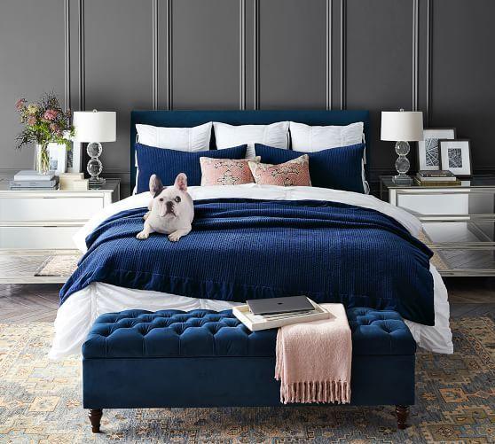 Hadley Ruched Cotton Duvet Cover Shams Blue Master Bedroom Bedroom Interior Bedroom Inspirations