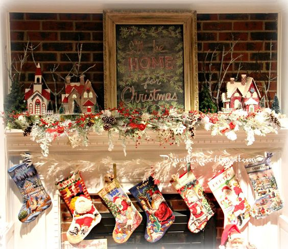 Priscillas: I'll Be Home For Christmas Mantel