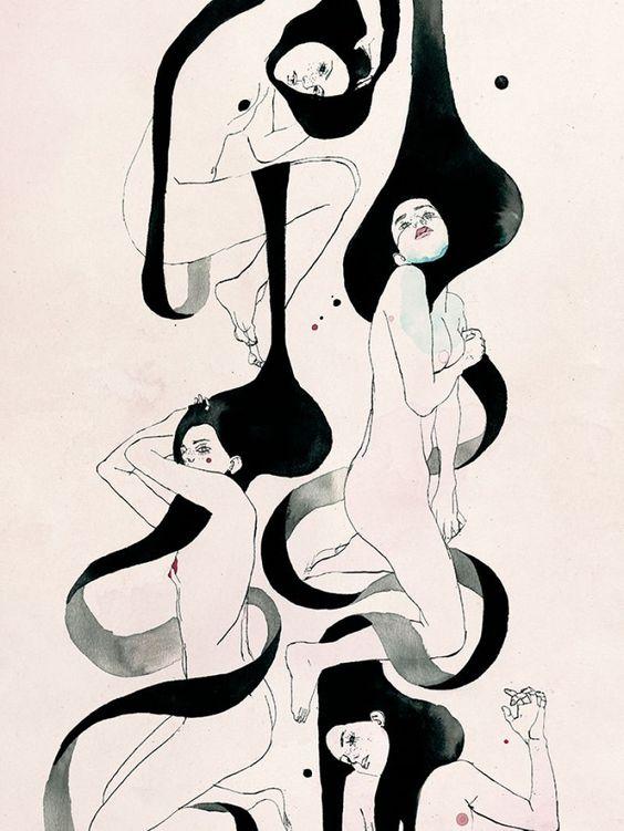 """redlipstickresurrected:""""Conrad Roset (Spanish, b. 1984, Terrassa, Spain) - Pentinnette Paintings"""""""