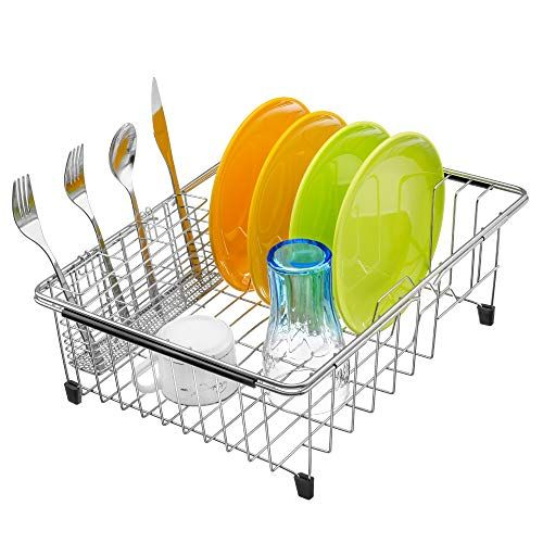 Ipegtop Expandable Dish Drying Rack And Utensil Cutlery Holder