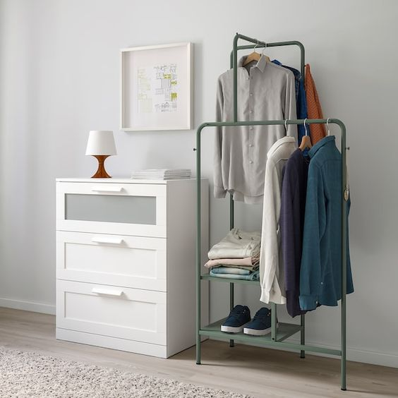 NIKKEBY Clothes rack, gray-green, 31 1/2x66 7/8