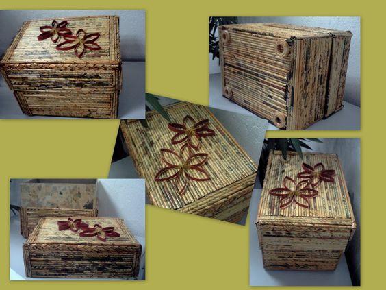 Artesanato com caixa de papelão e jornal