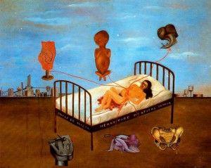 """""""Henry Ford Hospital ou le lit volant """"  1932 - Huile sur métal, 30,5 x 38 cm, Museo Dolores Mexico."""
