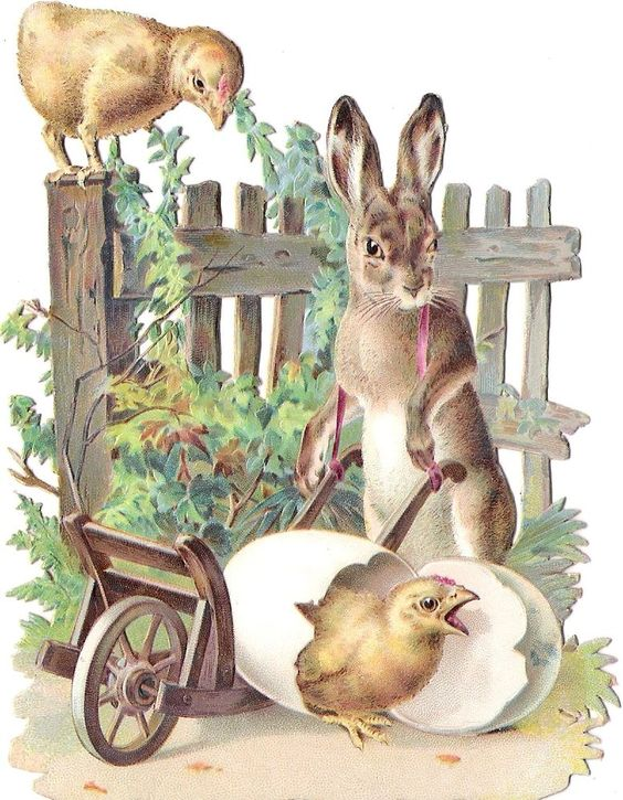 Oblaten Glanzbild scrap die cut chromo Ostern easter bunny rabbit Hase chicken:
