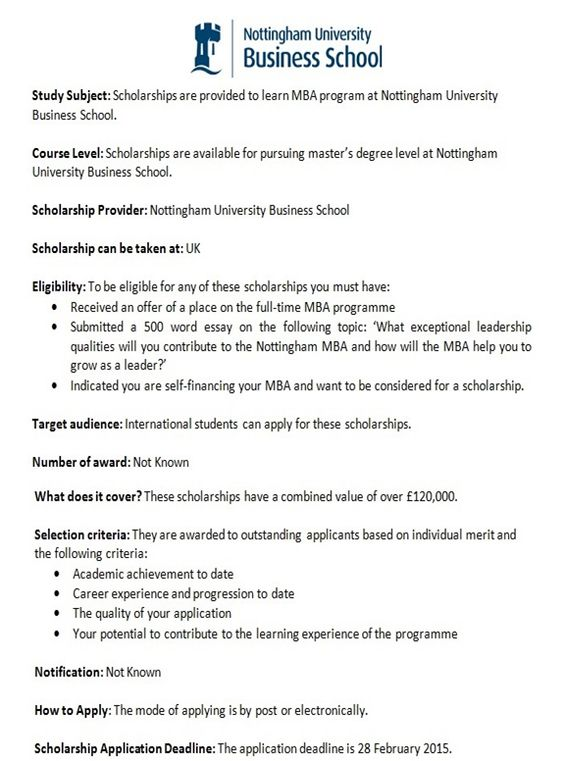 MBA Scholarships for Pakistani Students in UK- Study in UK - scholarship application form