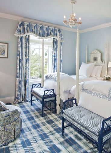 Blue white bedroom with gingham and tartan beds for Gingham decorating ideas
