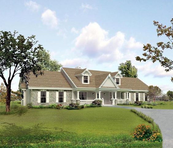 Cape Cod Country Ranch Southern Traditional House Plan    Cape Cod Country Ranch Southern Traditional House Plan