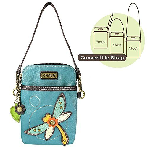 Chala Convertible Cell Phone Purse / Xbody Vegan Leather (Turquoise Drogonfly) Chala