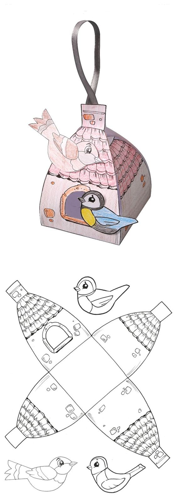 Birdhouse gift box template proyecto las aves for Papercraft bird template